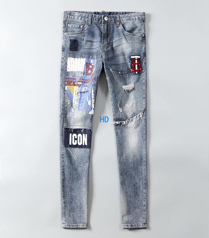 19ss New Fashion Design For Men High Quality And Exquisite Korean Edition Jeans Embroidery Slim Casual Small Straight Foot Trousers 50