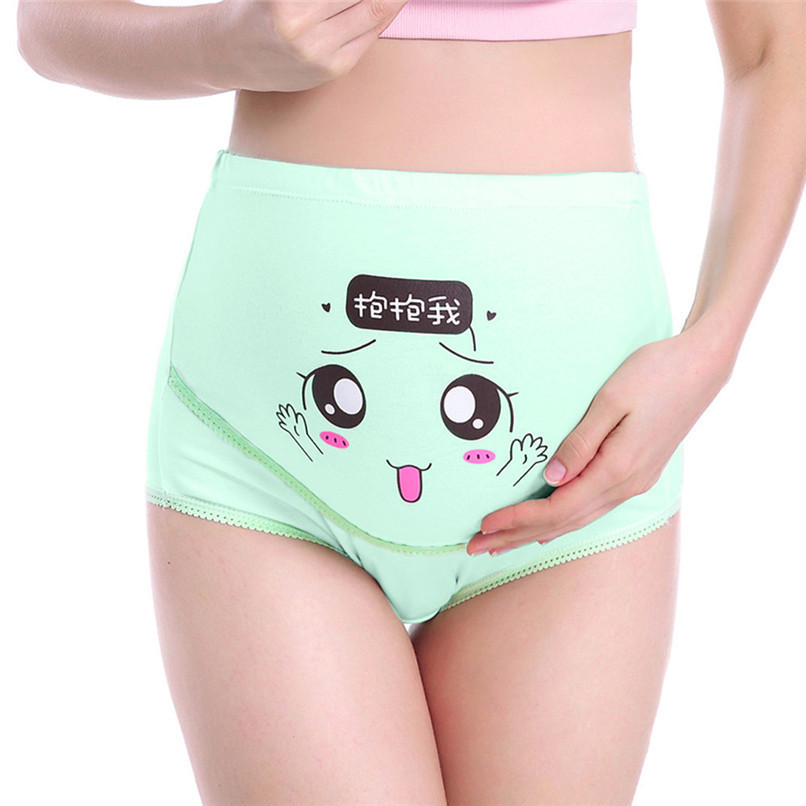 M-XXXL Pregnancy Maternity Clothes Cotton Women Pregnant Smile Printed High Waist Underwear Soft Care Underwear Clothes S14#F (17)