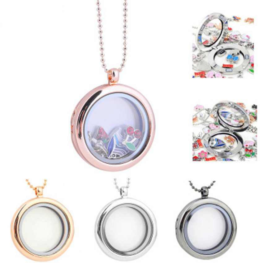 1pc Clear Crystal Key Living Memory Magnetic Pendant Locket DIY Charms Necklaces