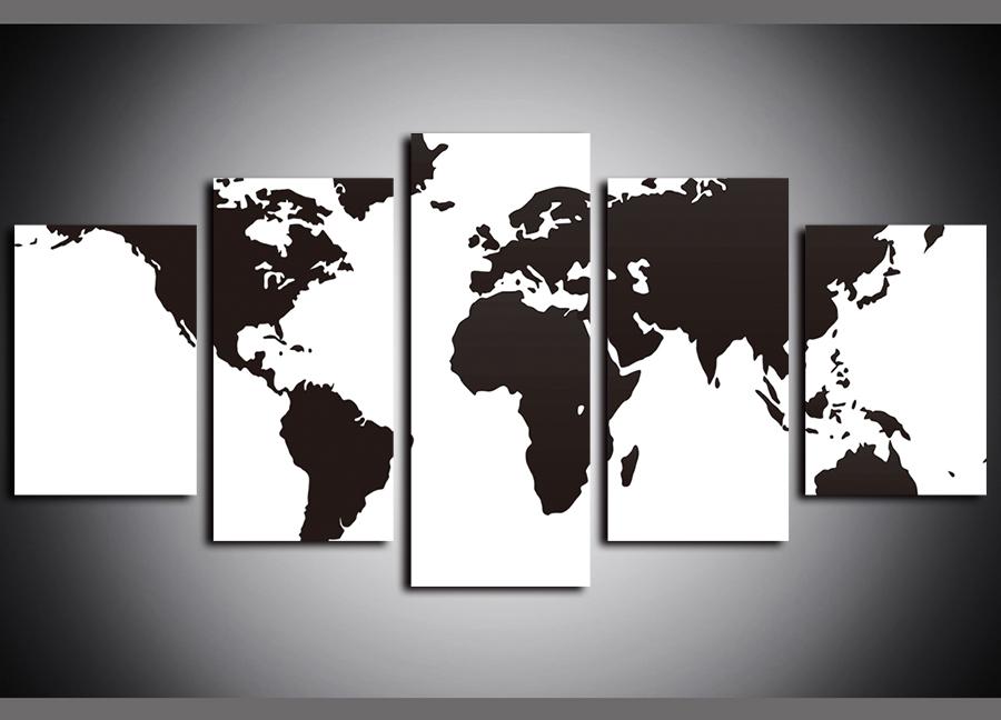 Black /& White World Map Poster Wall chart Deco Art A3 Size