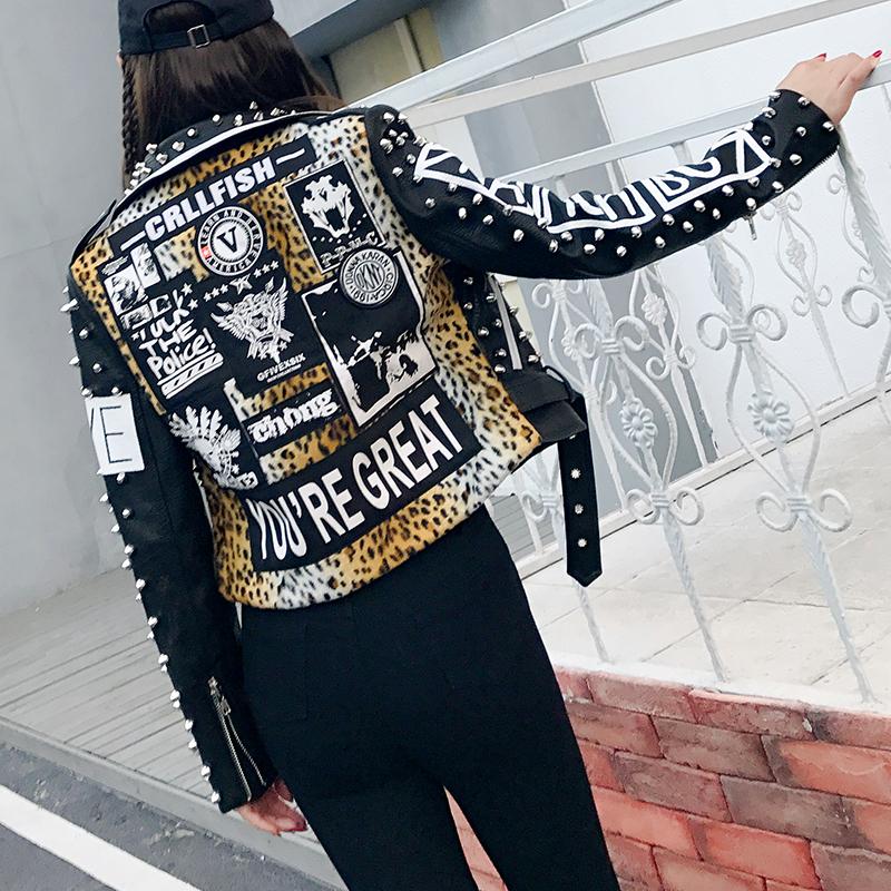 graffiti leather jacket women(3)