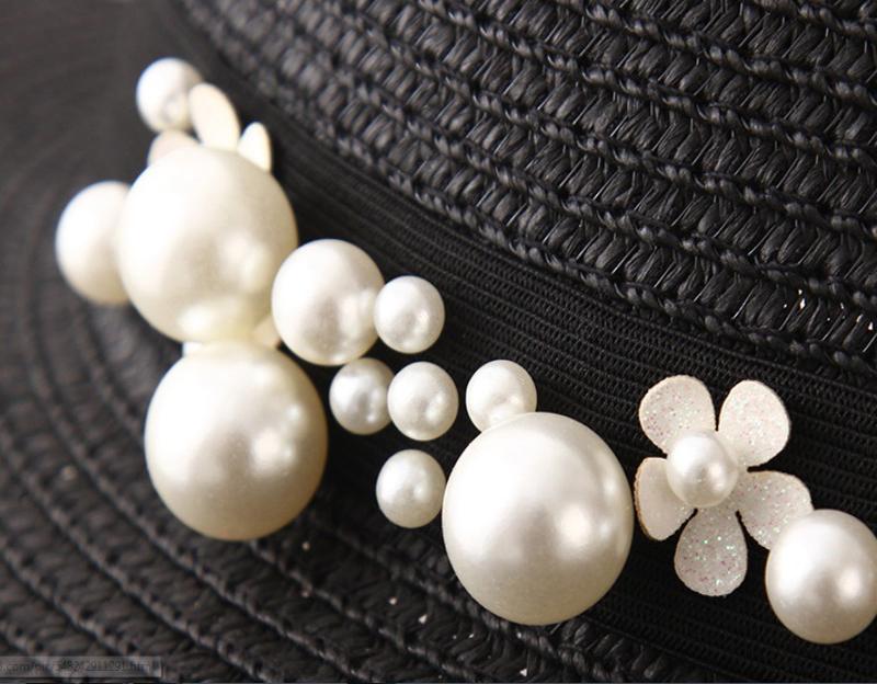 Spring Summer Hats For Women Flower Beads Wide Brimmed Jazz Panama Hat Chapeu Feminino Sun Visor Beach Hat Cappello
