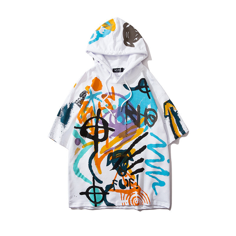 Off White Pullover Graffiti Pfeil Lose Hoodie Plus Plüsch Sweatshirt M-2XL