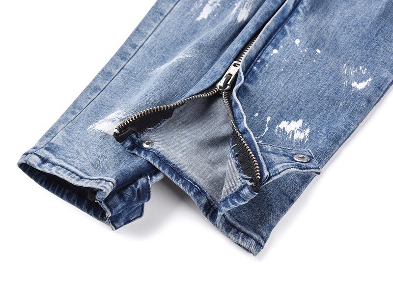 2019 Icono negro Hombres Pantalones vaqueros decorados Pantalones de mezclilla Hiphop Ripped Graffiti Imprimir hombres Side Zipper Slim Fit Jeans
