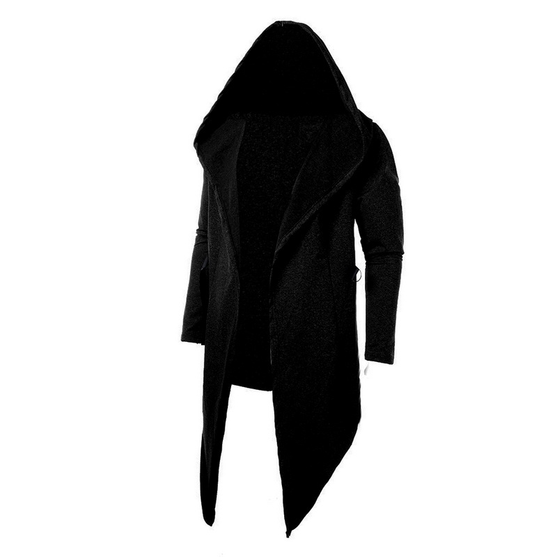 wholesale 2018 Men Hooded Sweatshirts Black Hip Hop Mantle Hoodies Fashion Jacket long Sleeves Cloak Man's Coats Outwear Hot Sale