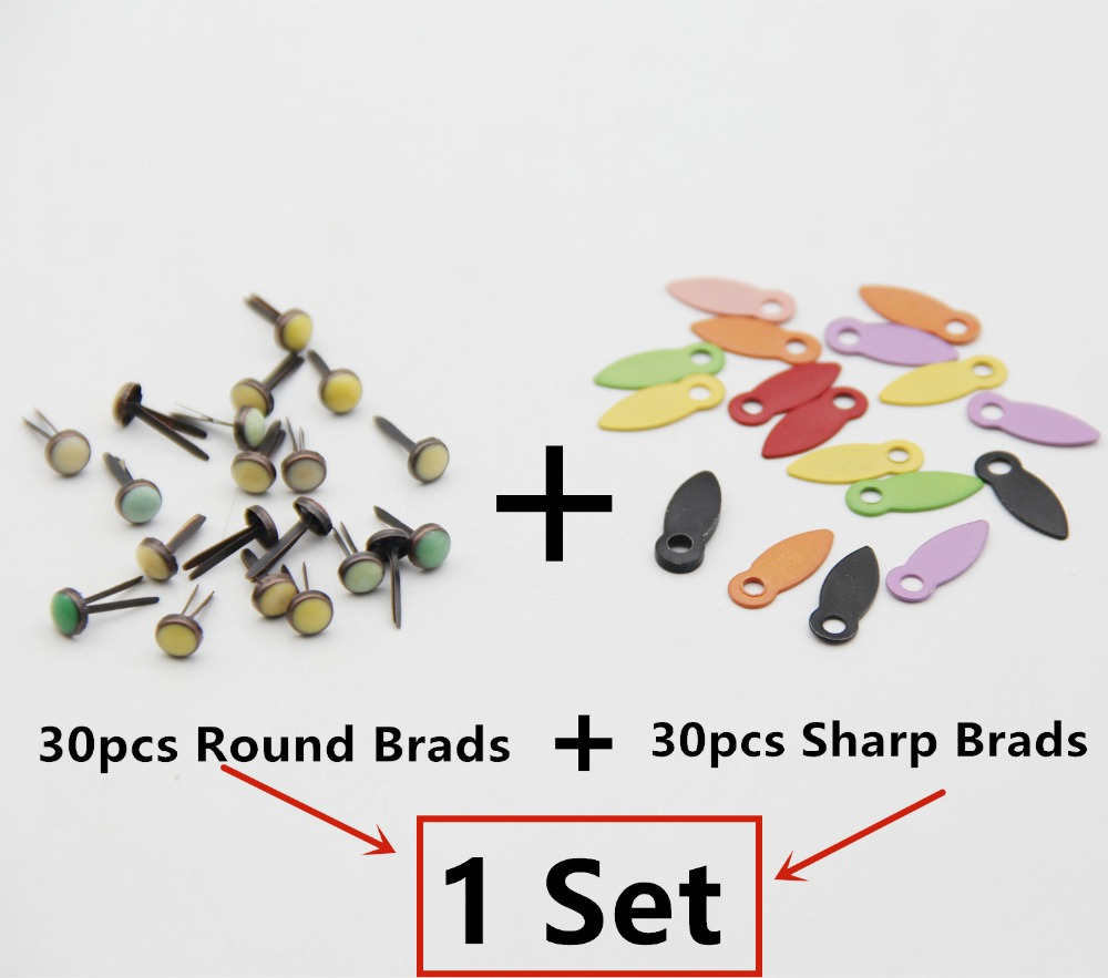 Mixed Round Metal Pastel Brads 50pcs 10x12mm Assorted Colored Round Shape for Clothes Round Scrapbook Scrapbooking Embellishment Fastener Making and DIY Craft Decoration