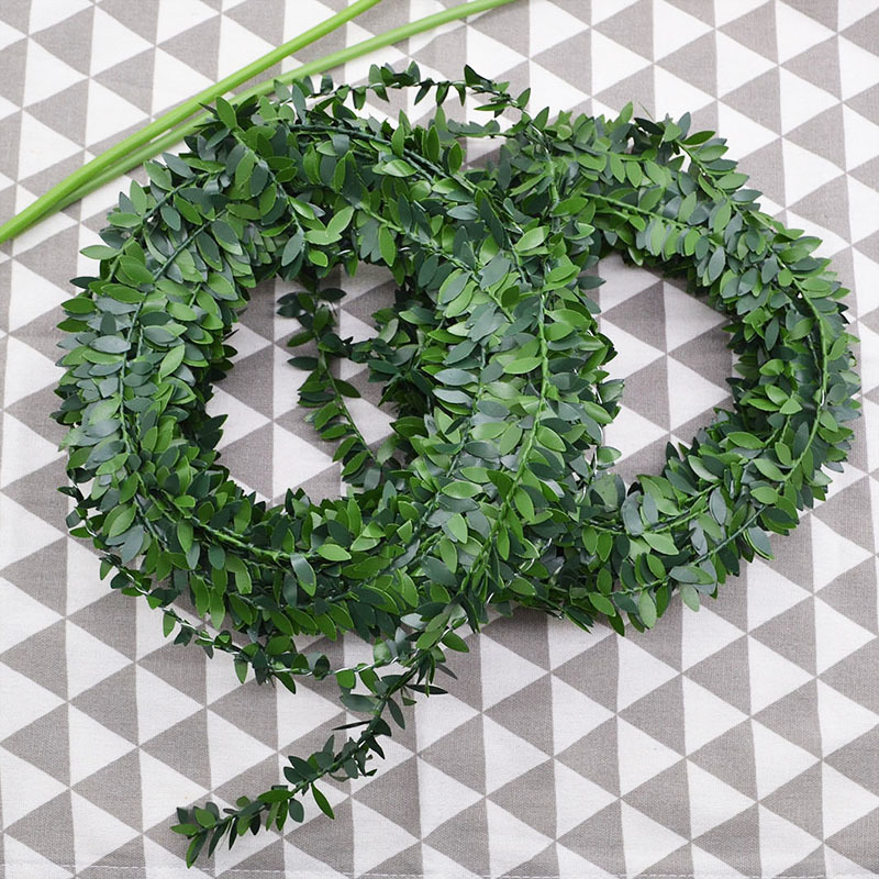 7.5m/24.6Ft Green Leaf Iron Wire Artificial Flower Vine Rattan Silk Garland For DIY Wreath Flowers Wedding Car Decorations