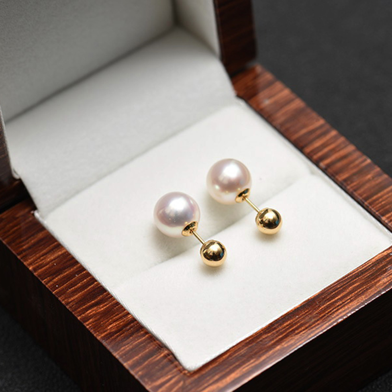 Sinya Natural Round pearls 18k gold beads stud earring for women screw gold ball tight design DIY wear earring 2018 fashion sale (22)