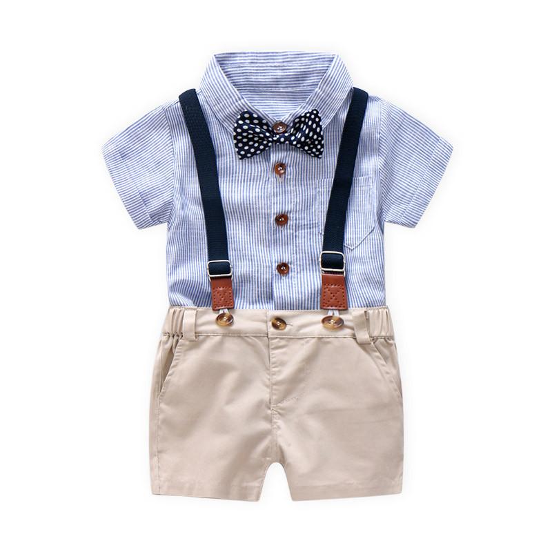 Cotton Kids Set Toddler Baby Summer Gentleman Bowtie Short Sleeve Shirt+overall Shorts Sets Boys Clothes Q190530