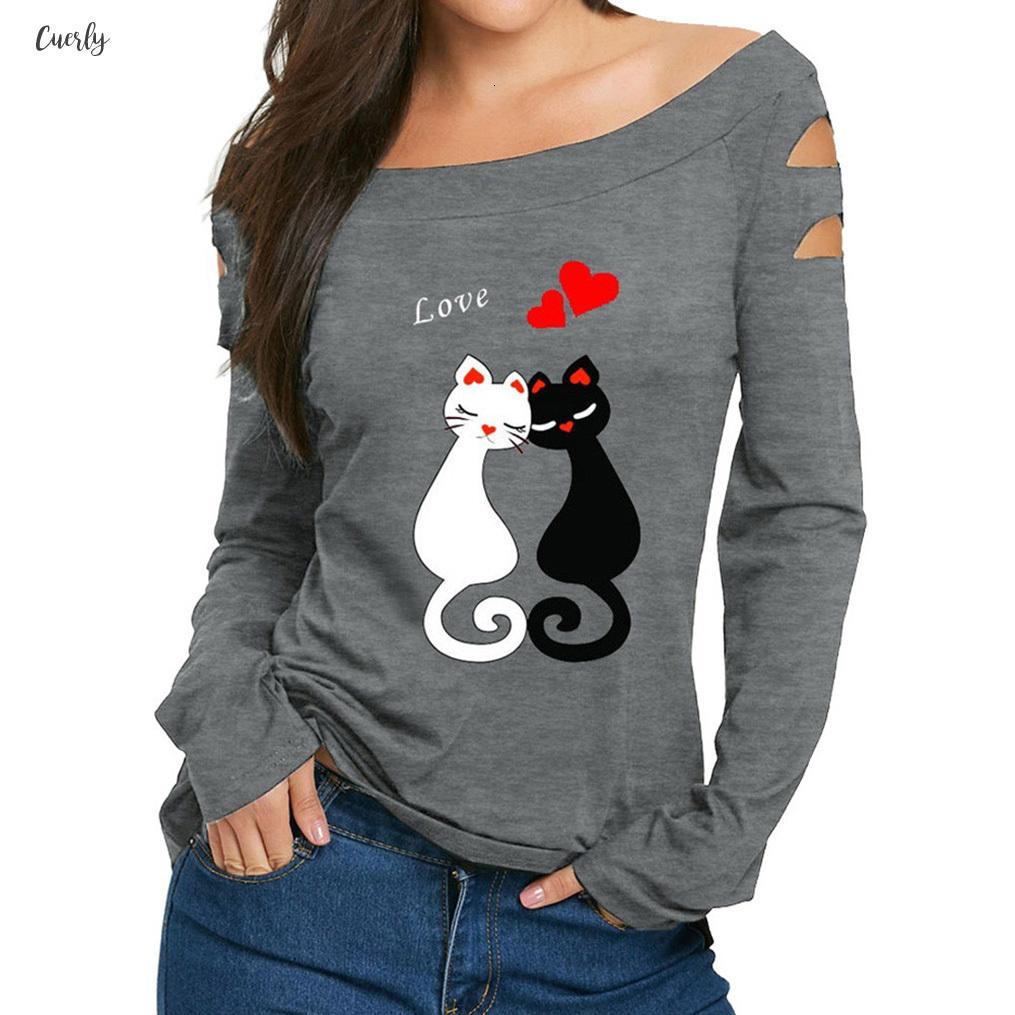 Recém-Poliéster Mulheres Shirt Ladies Off Shoulder Cat Love Prints manga comprida Tops dropshipped 28 de julho