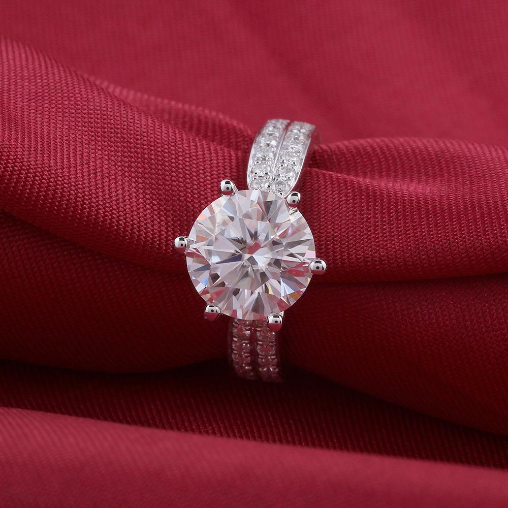 moissanite engagement ring- 14k white gold- moissanite- 3carat- F color (6)