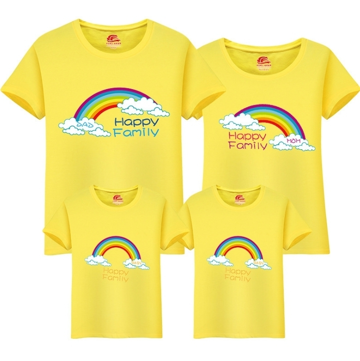 Family T-shirt Mom Dad Daughters Children 2019 New Cute O-neck T Shirt Family Cartoon Cotton Tops Matching Mother Clothing Fy052