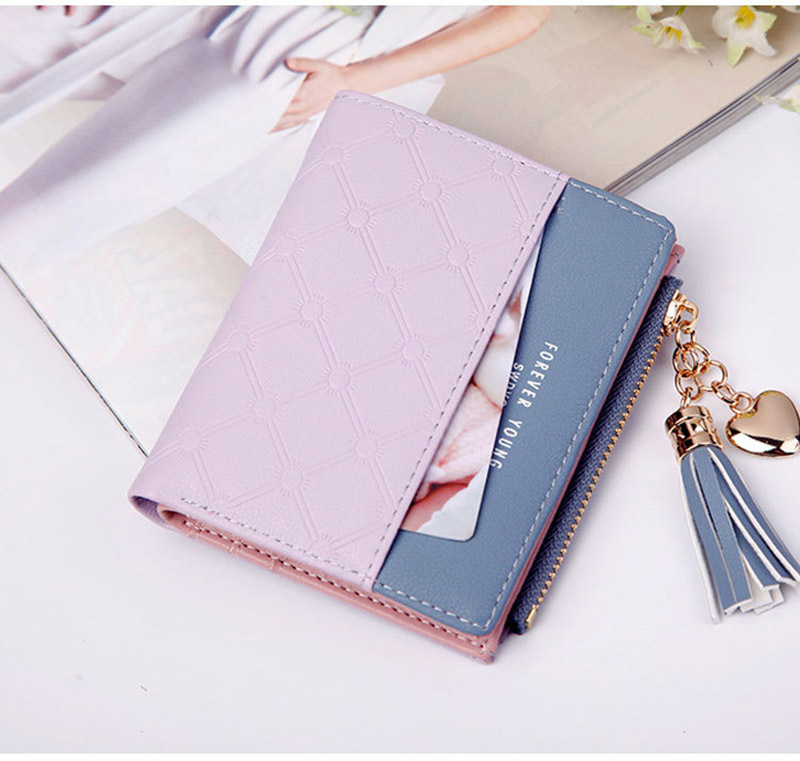 Women Wallet Female Short Paragraph Coin Purse Color Wallet Women Small Fold Wallets Tassel Zipper Button Bag Credit Card Holder (14)