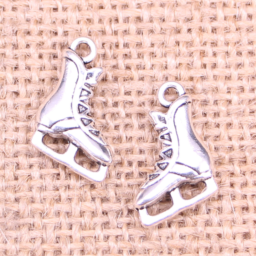 20pcs Roller Skate Shoes Charms For Bracelets Ice Skate Jewelry Skating Pendant