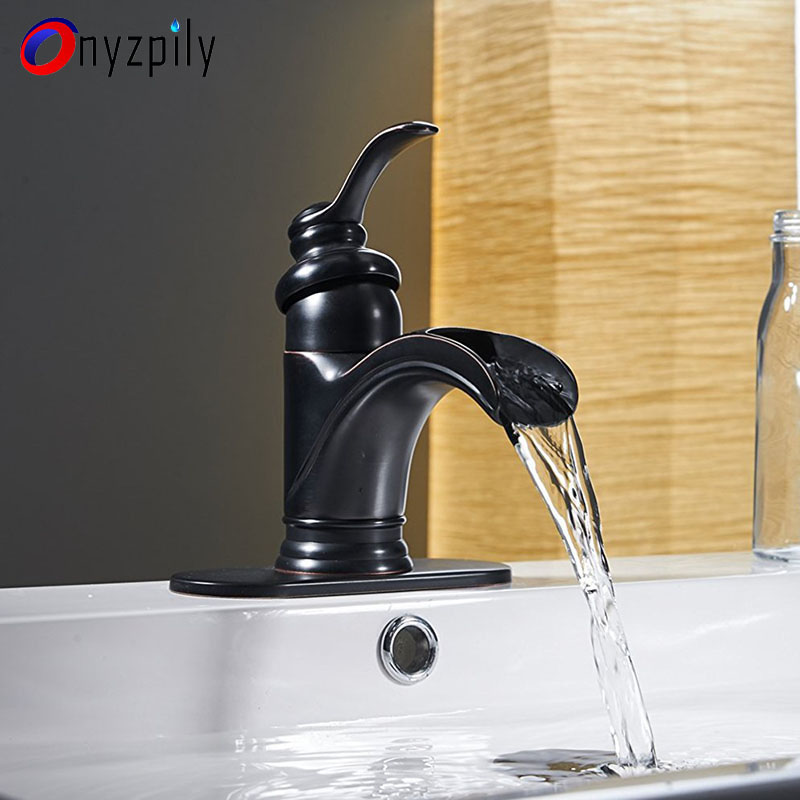Onyzpily Basin Faucet Bathroom Faucet ORB Waterfall Spout Faucet Mixer Tap Deck Mounted Sink Mixer torneira banheiro
