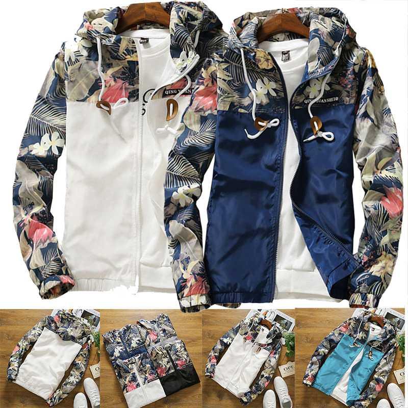 Windbreaker Womens Jacket Plus Size 5XL Causal Zipper Hooded Floral LooseBasic Jacket Coat