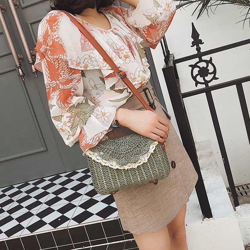 Women Lace Straw Bags INS Popular Female Holiday Handbag Summer Hot Lady Weave Shoulder Bag Travel Beach Casual Bolsa SS3150 (12)