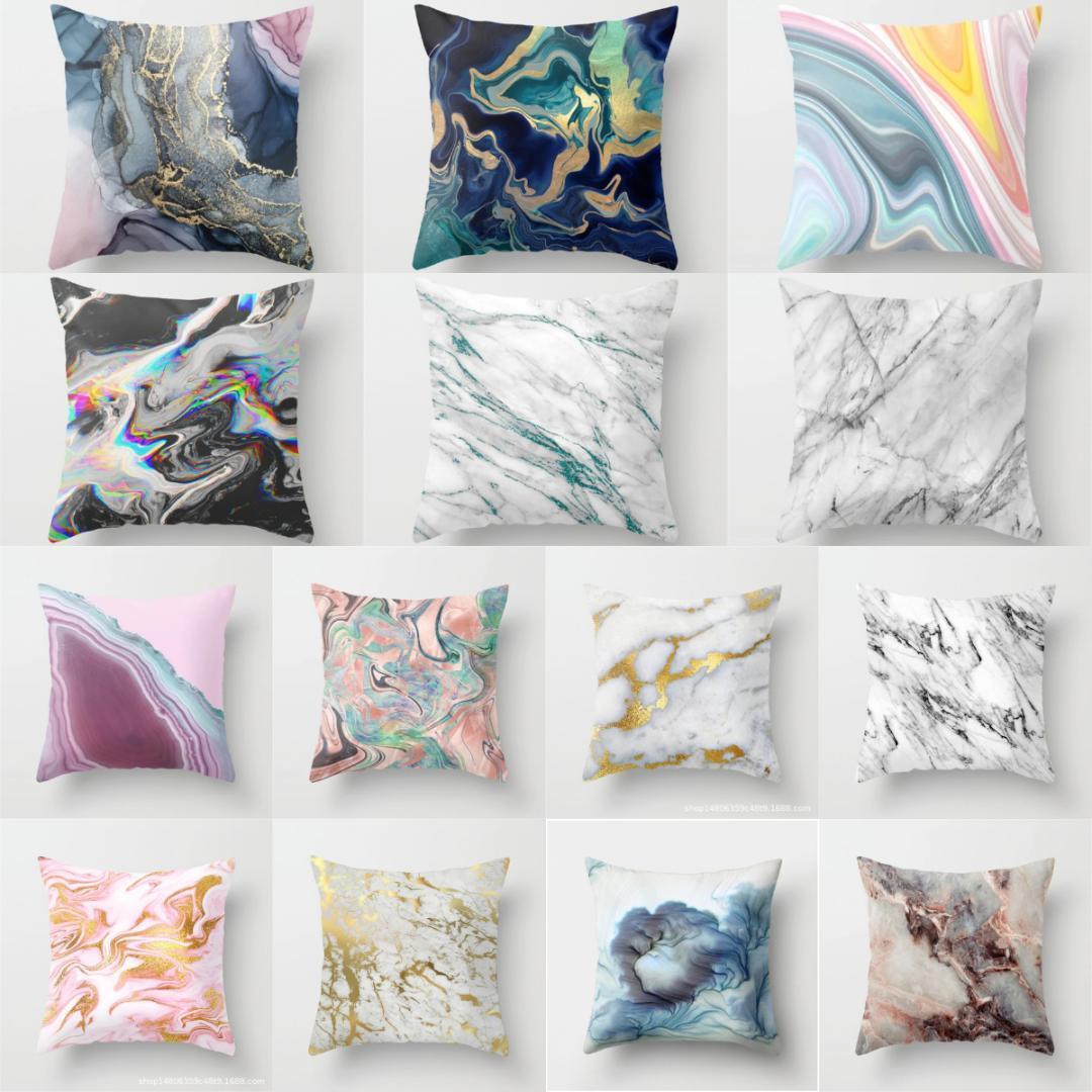 EE/_ Stone Pattern Linen Throw Pillow Case Cushion Cover Bed Sofa Car Decor Healt