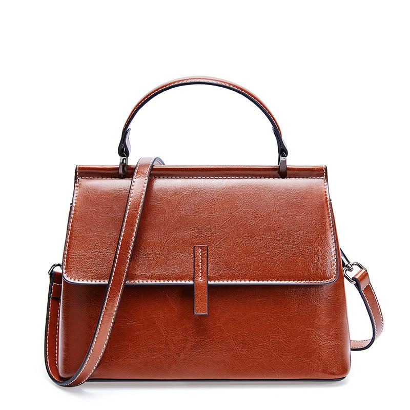2019 Top-Qualität Designer Brand New Lady echtes Öl Rindsleder Luxus Handtasche Schultertasche Tote Geldbörse Q42