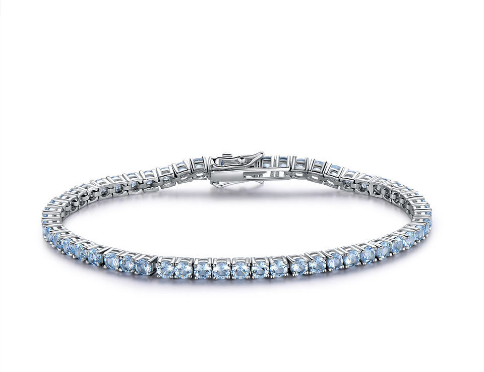 925 Sterling Silver sky blue topaz bracelet for women (5)