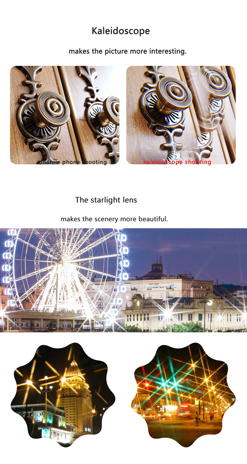 LIGINN 7 in 1 camera lens kit Wide Angle Fisheye Macro Telephoto CPL kaleidoscope starlight cell phone camera lens
