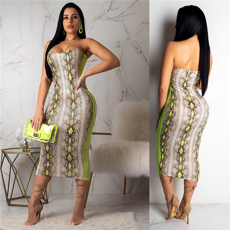 Snake Snake Print Sexy Bodycon Dress Beach Dress Women Sleeveless Dresses Midi Strapless Party Dress Slim Celebrity Club Dressing 2019