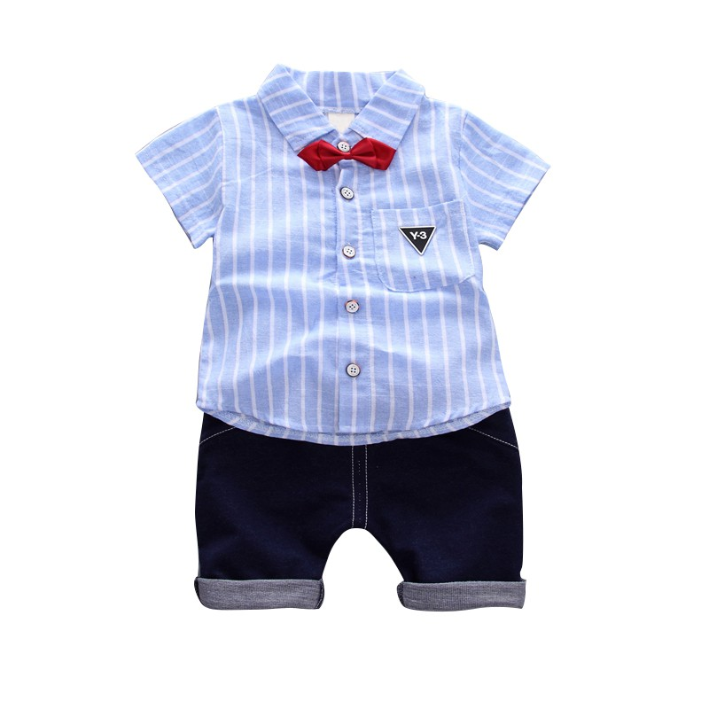 Little Boy Sommer-Outfit gestreifte Krawatte T-Shirt Top und Denim Shorts 2 St/ück Babykleidung Set