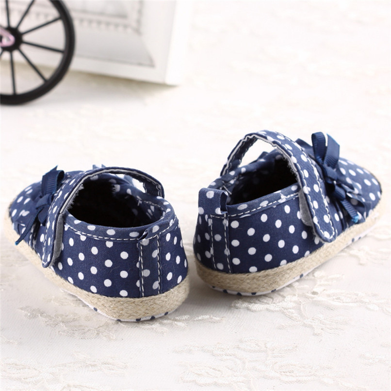 Baby Girls Shoes Fashion Newborn Infant Baby Girls Canvas Polka Dot Bowknot Shoes Soft Sole Anti-slip First Walker M8Y04 (10)
