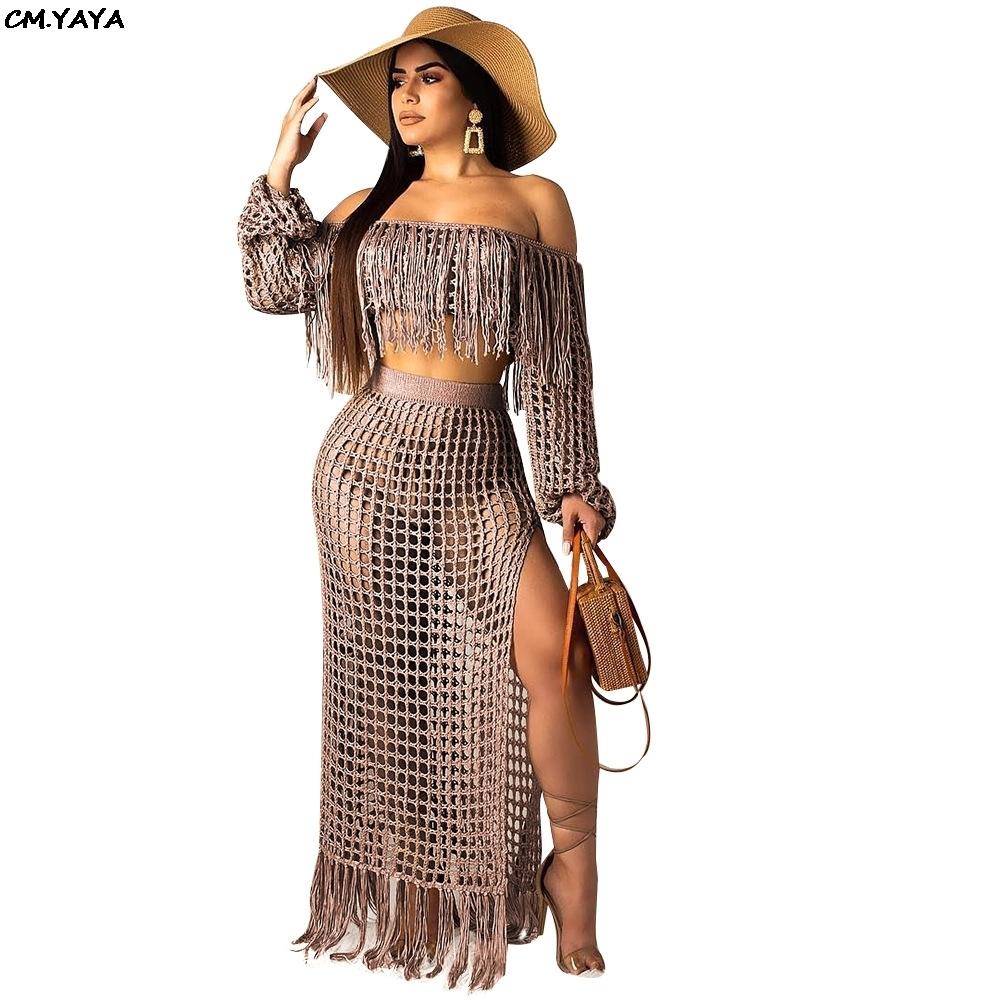 Women Summer Beach Grid Bohemian Off Shoulder Tassel Splicing Top Side Split Maxi Skirt Suit Two Piece Set Dress S3554 Y19062601