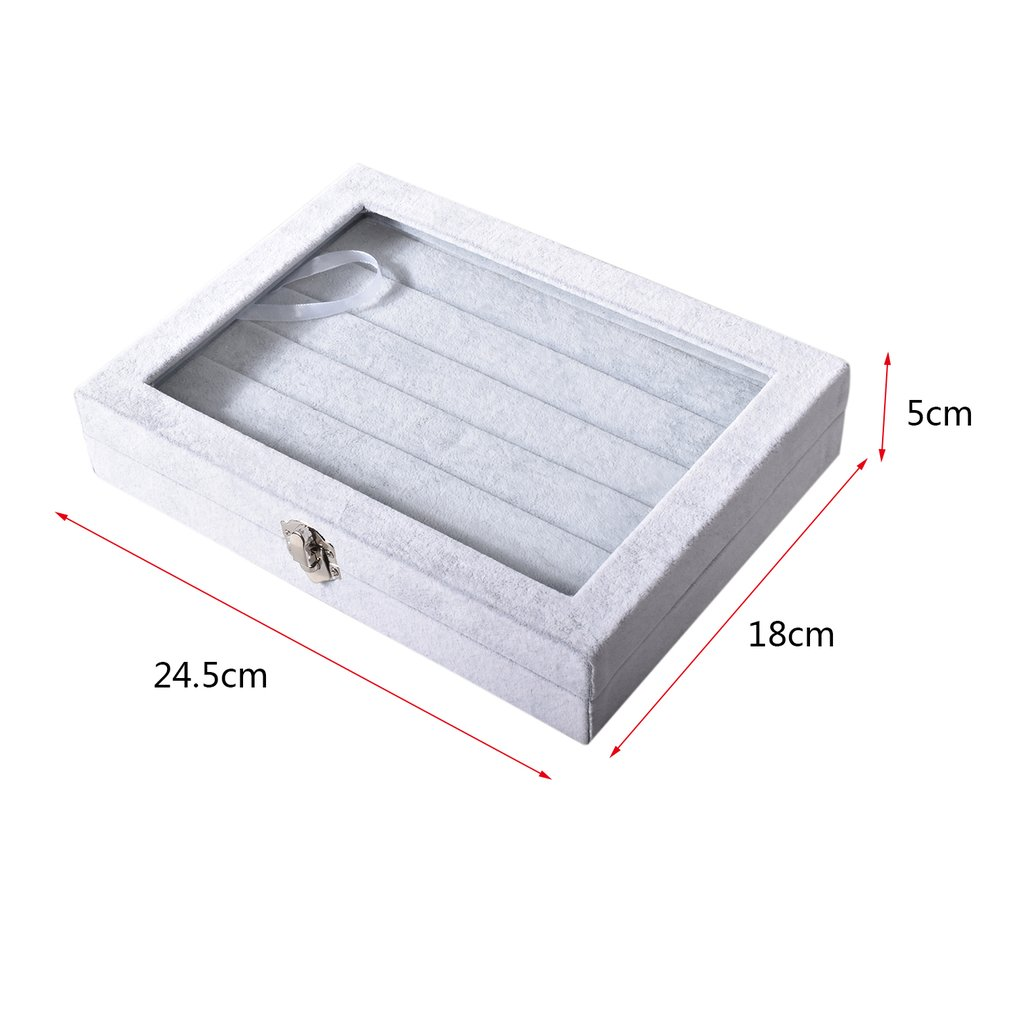 Grey Velvet Glass Ring Case Jewelry Box Rings Display Show Casket Holder Stand Packaging Portable Casket