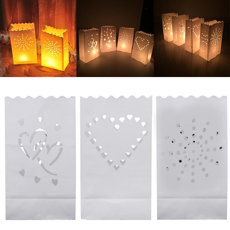 20 Luminaria Papier Bougie lanternes Sacs Thé Lumière Titulaires Mariage Fête BBQ/'s