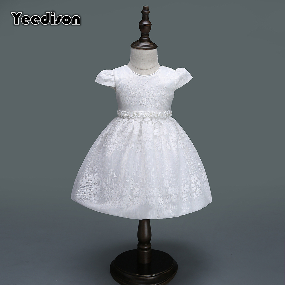 Yeedison Baby Girl Dress 2018 Spring Summer White Flower Princess Party Dresses 1 Year Birthday Dress Newborn Christening Gowns (0)