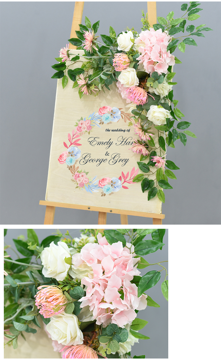 JAROWN Wedding Flower Row Welcome Sign Simulation Floral Hotel Creative Guide Decorations Photography Props Home Door Flower (11)