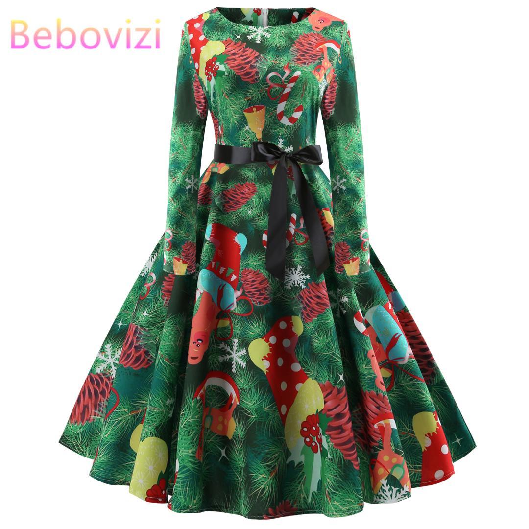bebovizi green xmas midi kleider weihnachten plus size long sleeve 2019  neue jahr party kleid vestido de festa kleidung für frauen