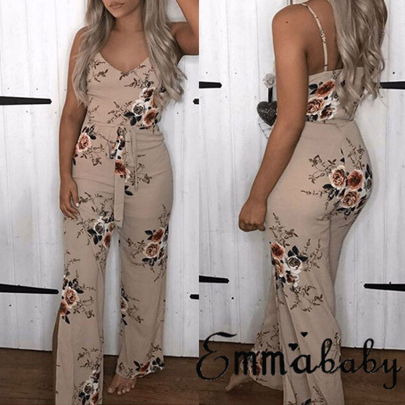 b712f37237d ... Fashion Women Clubwear Summer Jumpsuit 2018 Ladies Playsuit Bodycon  Party V-neck Jumpsuit Floral Printed