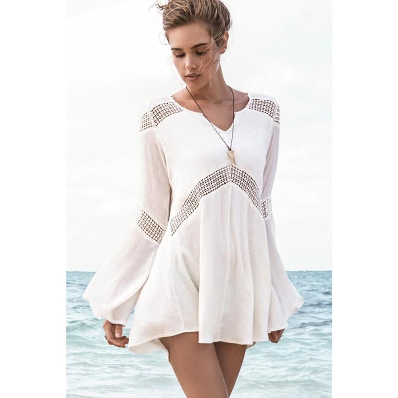 Bell Sleeves Hollow-out White Beach Tunic Woman Beachcwear 2015 Sexy Woman Chiffon Beach Wear L38200-1