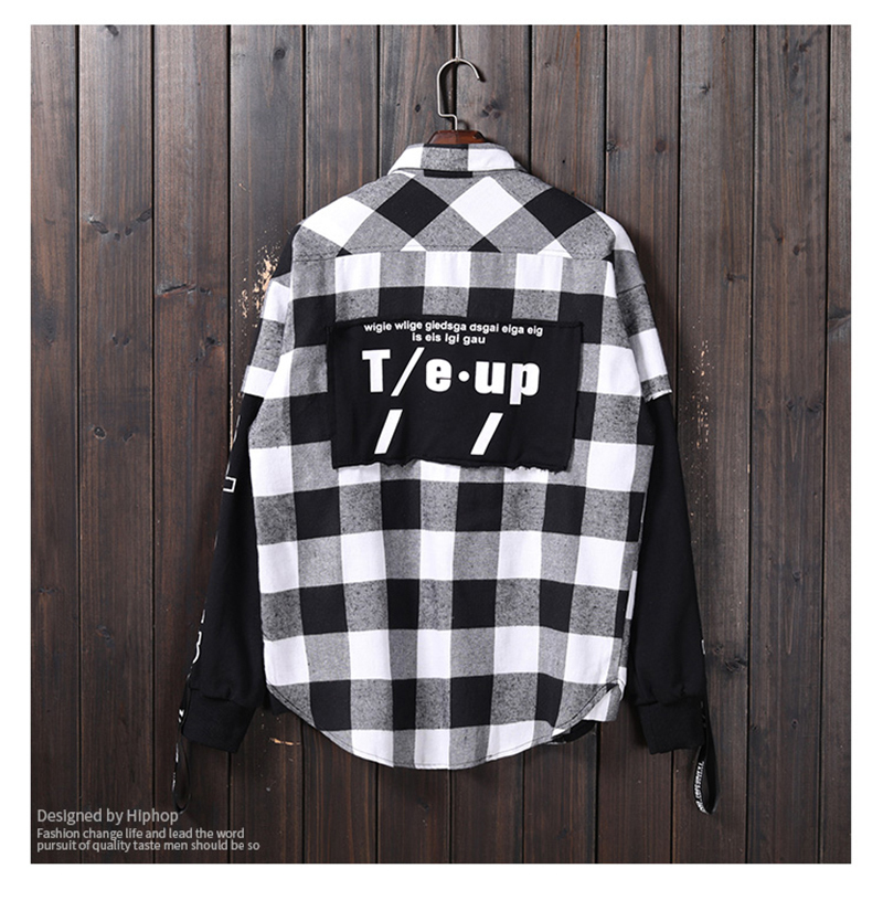Red And Black Plaid Patchwork Shirt Men (17)
