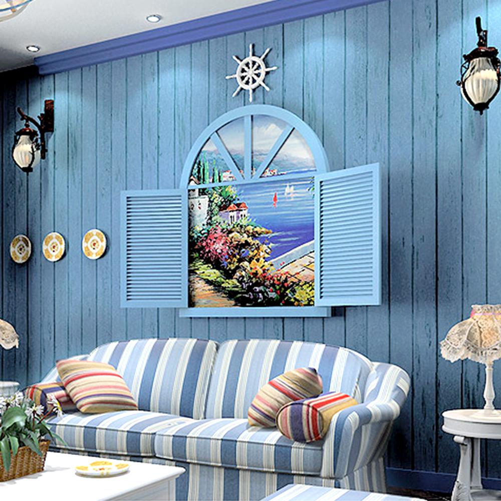 Papier Peint Chambre Mansardée yazi belle rustique auto-adhésif à rayures faux bois bleu clair papier  peint rouleau salon chambre papier mural pour bébé