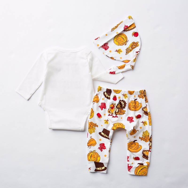 2016 Autumn Baby Boy Clothes Set My First Thanksgiving Romper+Trousers+Hat 3pcs Outfit Suit Newborn Toddler Girls Clothing Set-3