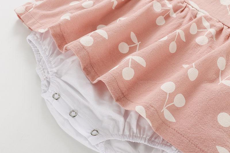 2019 Bébé Barboteuses Nouvel Été Vêtements De Mode Mignon Cerise Prints Enfants Vêtements Barboteuses Robe Avec Chapeau Combinaisons Y19050602
