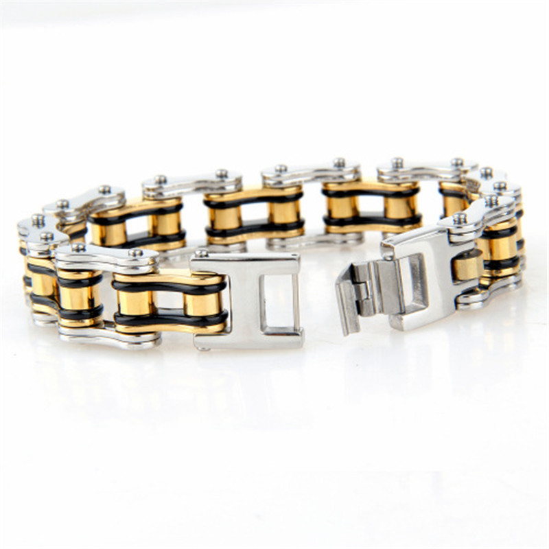 Oulai777 2019 Stainless Steel Bicycle Chain Men Bracelet Gold Black Punk Mens Accessories Big Male Charm Bracelets Chain On Hand