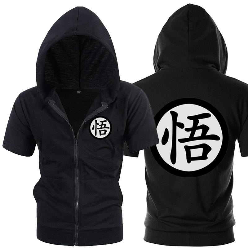 Casual Funny Print Ball Hoodie Men Black Gray Cosplay Sweatshirt Fashion Short Sleeve Zipper Mens Jackets