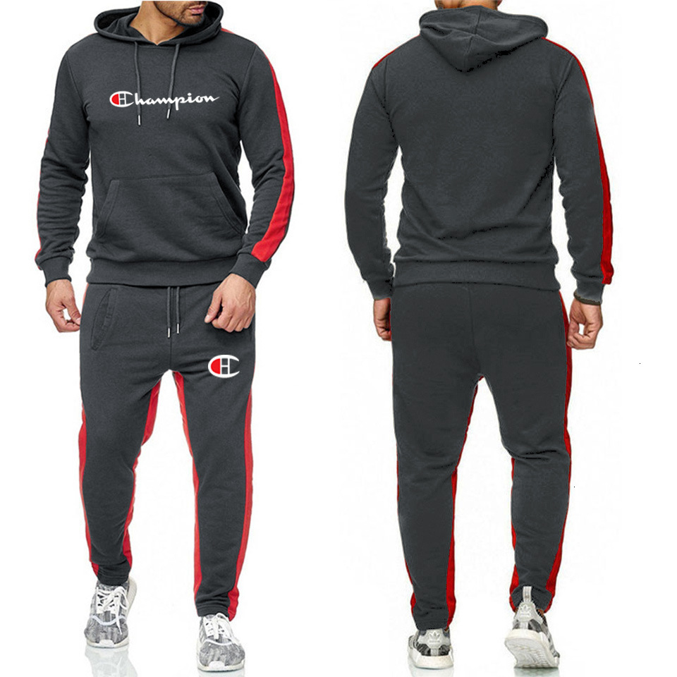 2019 Mens Brand Tracksuit Hooded Sportswear Long Sleeve Hoodie Pullover Pants Leggings Set Sweatsuit Sport Suit 5522