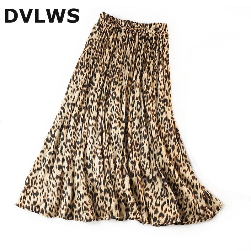 2019 Mode Leopard Faltenrock Von Frauen Sommer Frühling Hochwertige Leopard Rock Von Frauen Silk Touch Armee Grün Rosa Khaki Y19072001