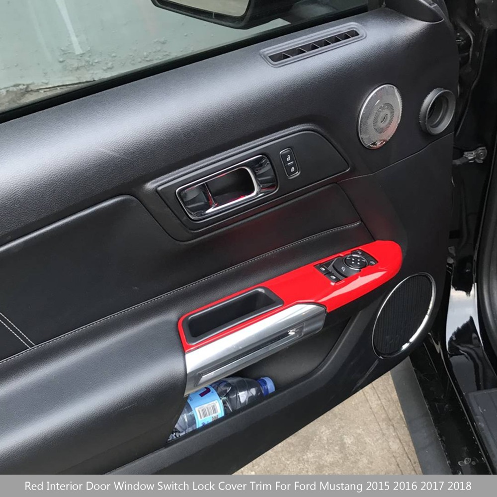 Grosshandel Grosshandel Auto Rot Innen Fenster Schalter Schloss Abdeckung Trim Fur Ford Mustang 2015 2016 2017 2018 Aluminium Auto Styling Deckt Von