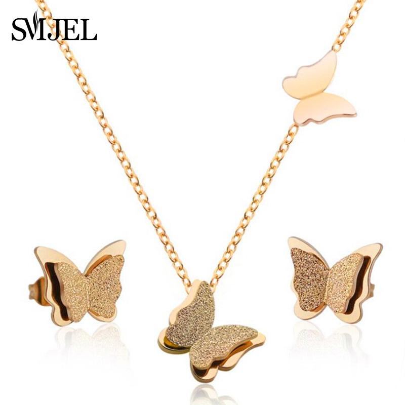18k Rose Gold Joyeria De Acero Inoxidable Collar Mariposa Aretes Set Para Mujer