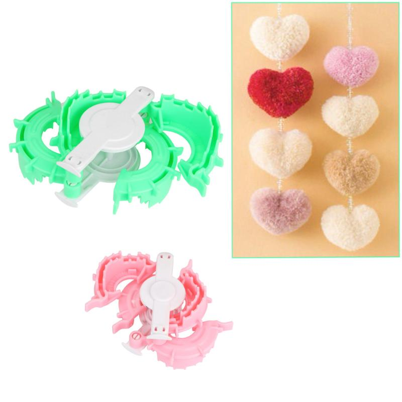 Pink and Green Heart Shape Pompom Maker 5cm 7cm Fluff Ball Weaver Loom Craft for Hobby Supplies and DIY Creative Crafts Decorations 2PCS