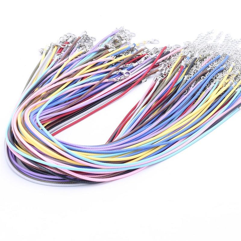 Cable De Cera 20Pcs Redondo Tanga Collar Pulsera cuerdas Langosta Broche Para Colgante