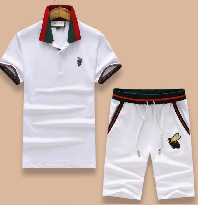 kk-047casuals klassische Trainingsanzüge Sommer Sportswear für Männer Kurzarm Pullover Casual Jogger Pants Anzüge Polo Sportsuit