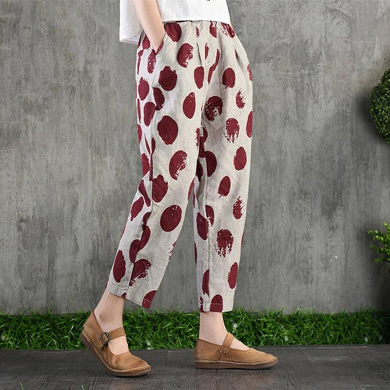 Plus Size 4XL Cotton Linen Harem Pants Trousers Women Vintage Print Slim Casual Elastic High Waist Cargo Radish Pants Women 20195